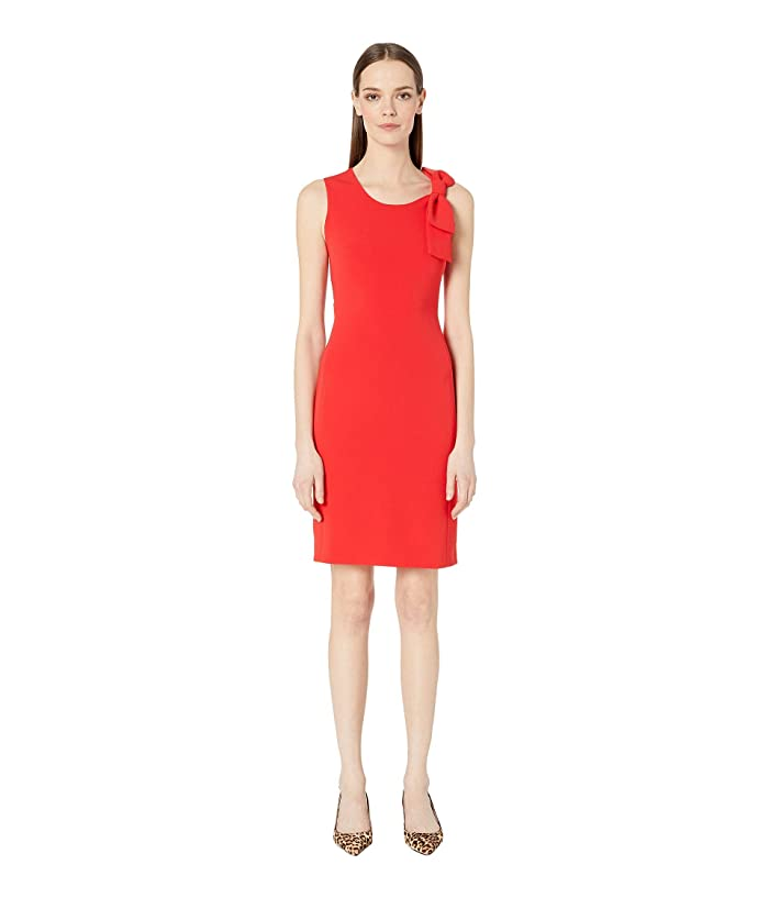 Boutique Moschino Sleeveless Scoop Neck Bow Sheath Dress (Red) Women