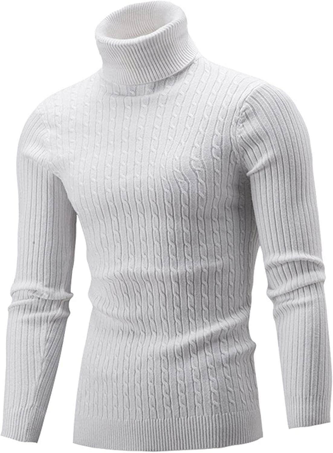 Men's Casual Long Sleeve Pullover Turtleneck Sweaters Tops Slim Fit Solid Color Shirt High Neck Blouse