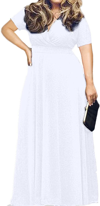 HWOKEFEIYU Women Short Sleeve Loose Plain Casual Plus Size Long Maxi Dress