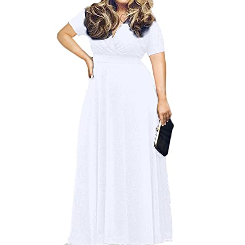 f5818a34199 POSESHE Women s Solid V-Neck Short Sleeve Plus Size Evening Party Maxi Dress