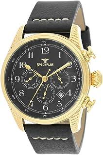 Spectrum Men's Gold Case Black Dial Multi Function Dress Watch