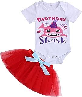 Baby Girls Birthday Shark Skirt Sets Toddler Kids Shorts Sleeve Romper + Tutu Bow Skirt Summer Dresses Outfits