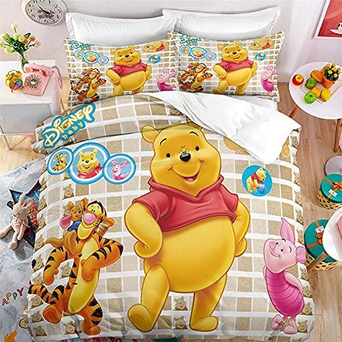 Juego de Ropa de Cama con 3D Juego De Cama Infantil Winnie The Pooh Single(135X200 Cm), 2 Piece Set 1 Piece Quilt Cover + 1 Piece Matching Pillowcase