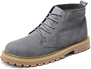 SHENYUAN Men's Motocycle Combat Boots Work Ankle Shoes Lace up Genuine Leather Lug Sole Anti Slip Round Toe Outdoor Casual Casual (Color : Gray, Size : 40 EU)