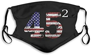 Made in USA - 45 Squared Second Term for Trump 2020 USA Flag Unisex with Filter Anti-Dust Washable Reusable Dust Face Mask...
