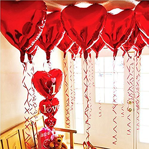 BinaryABC Foil Balloons,Love Heart Shape Helium Valentines Wedding Birthday Party Decorations,Approx,45cm,10 Pieces(Red)