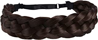 Coolcos Elastic Synthetic Hair Braid 5 Strands Braids Hair Headbands Plaited Braided Headband (Dark Brown As Image)