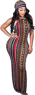 Women's 2 PCS Sleeveless O Neck Stripe Printed Bodycon Maxi Dress with Scarf