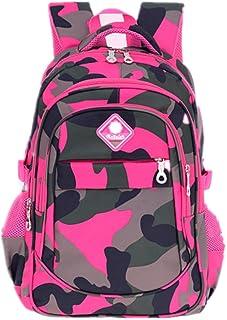 Bom Bom Mädchen Camouflage Schultasche Outdoor Freizeit Daypack Tarnung-Rose Rot
