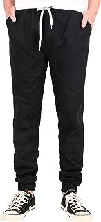 Men Casual Basic Mid Rise Khaki Drawcord Waist Twill Chino Jogger Pant