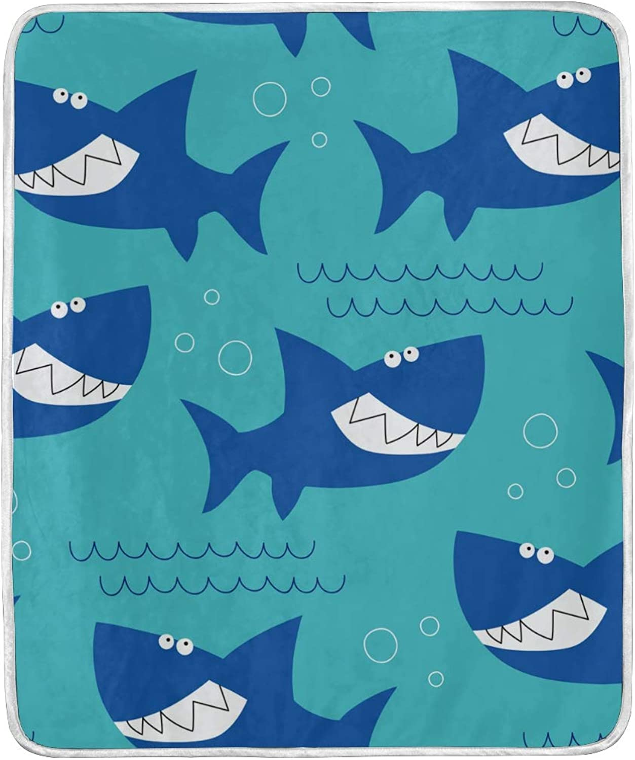 AMONKA Throw Blanket Shark Soft Warm Bed Sofa Couch Blanket Lightweight Polyester Microfiber for Kids Boys Girls Women Travelling Camping 50'' x 60''