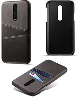 OnePlus 6T Card Holder Case, OnePlus 6T Wallet Case Slim, OnePlus 6T Folio Leather case Cover Shockproof Case with Credit Card Slot, Durable Protective Case for OnePlus 6T (Black)
