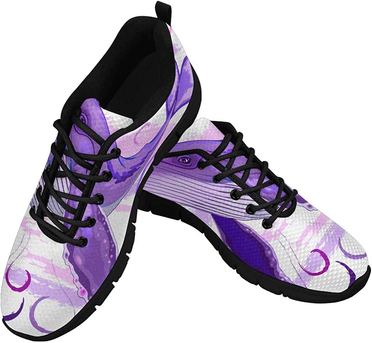 InterestPrint Purple and Pink Humpback Whale Women's Lightweight Sneakers Mesh Breathable Yoga Shoes