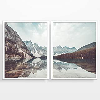 Mountain and Lake Landscape Photography Prints, Set of 2, Unframed, Adventure Wall Art Decor Poster Sign, 8x10