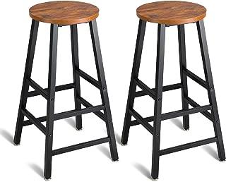 Mr IRONSTONE Pub Height Bar Stools Set of 2, Rustic Brown Bar Stool, 27.7