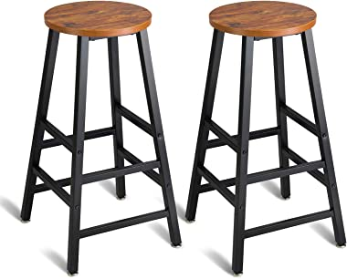 "Mr IRONSTONE Pub Height Bar Stools Set of 2, Rustic Brown Bar Stool, 27.7"" Pub Dining Height Stools Bistro Vintage Table Chairs (Indoor USE ONLY)"
