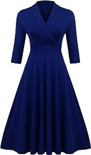 Women's Vintage V Neck Half Sleeve Pleated Flared A Line Swing Dress