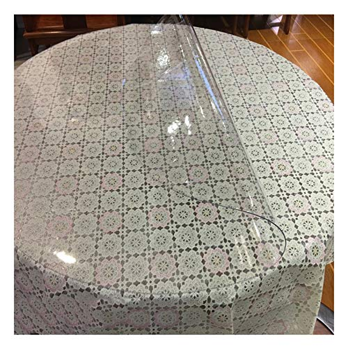 AMDHZ Mantel Transparente PVC Redondo Protector Suelo Estera De Mesa De Vidrio Suave 1,5 Mm, 2 Mm Película Aislante Antideslizante para Mesa De Comedor No Lavar (Color : 1.5mm, Size : 80cm Round)