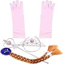 Katara- cosplay Disfraz de Princesa Conjunto de Guantes Tiara Varita Mágica Niña 2-9 Años, Color rosa claro/trenza marrón (1098)
