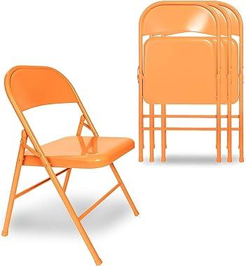 VECELO Lot de 4 Chaise de Cuisine Pliante, Chaise Pliable de Salle à Manger Chaise Invité pour Bureau Chaise de Jardin en Mét