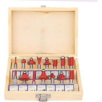 Juego de fresas para carpintería, plantilla de Flush Trim, vástago de 8 mm, Router Bit, mango de madera, fresas para carpintería, juego con caja de madera, 15 unidades: Amazon.es: Bricolaje y herramientas
