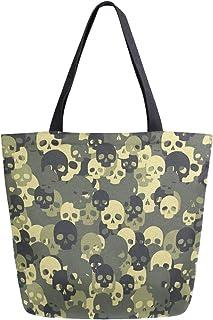 Mnsruu Totenkopf-Camouflage-Tragetasche aus Segeltuch für Einkauf, Reisetasche, wiederverwendbar, Einkaufstasche