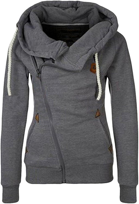 AJFASHION Women's Oblique Zipper Hoodies Funnel Neck Full Zip Hooded Sweatshirt