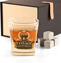 60th Birthday Gifts for Men, Vintage 1959 Whiskey Glass and Stones Funny 60 Birthday Gift for Dad Husband Brother, 60th Anniversary Gift Ideas for Him, 60 Year Old Bday Decorations Party Favors