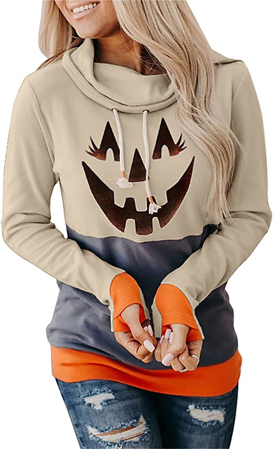 Buenos Now on sale Aire2021 Women's Max 50% OFF Halloween Print Hoodies Roun Long Sleeve