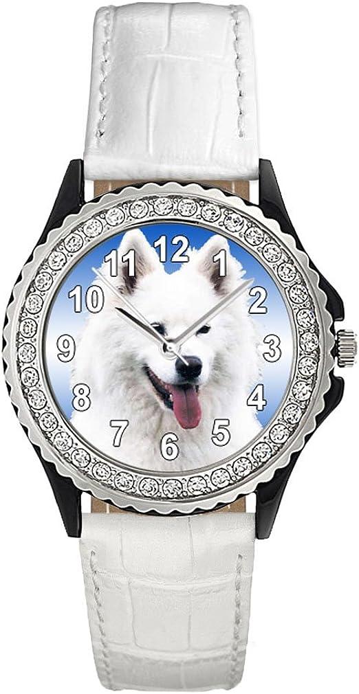 Timest - Samoyed Fresno Mall Crystal Rhinestone Womens White Memphis Mall Wrist Leather