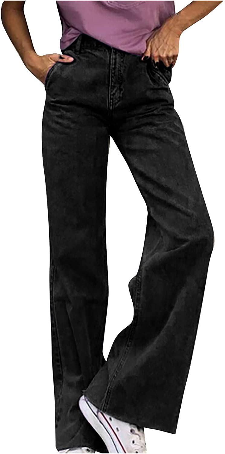 Womens High Waist Pocket Jeans Wide Leg Ripped Denim Pants Classic Straight Y2K Baggy Casual Jeans Pants