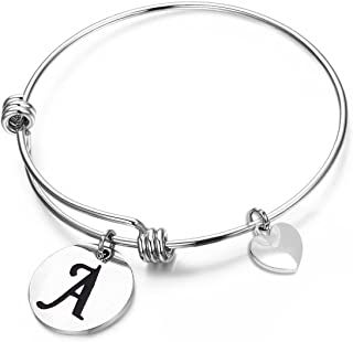 MAOFAED Initial Bracelet Letter Bracelet Personalized Jewelry Hand Stamped Jewelry