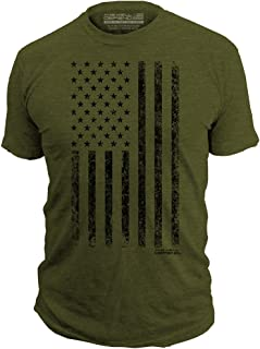 This We'll Defend - Distressed American Flag - Made of USA - Mens 52/48 Premium T-Shirt, Olive Heather