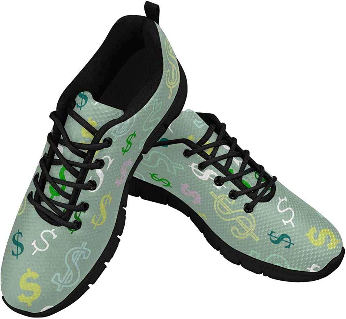 INTERESTPRINT Dollar Sign Pattern Women's Athletic Walking Running Sneakers Comfortable Lightweight Shoes