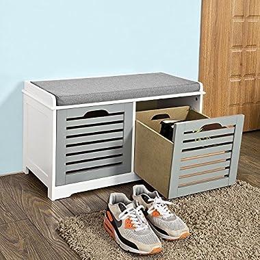 SoBuy Storage Bench,Shoe Cabinet,Shoe Bench,Storage Cabinet,FSR23-K-HG