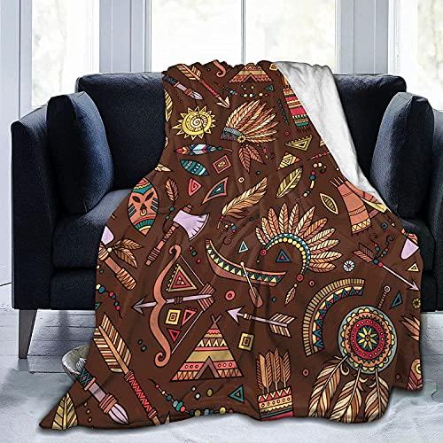 Manta tribal abstracta nativa étnica patrón de franela, manta de forro polar para bebés, niños, hombres, mujeres, mantas suaves y cálidas, tamaño Queen y mantas para sofá cama Trave