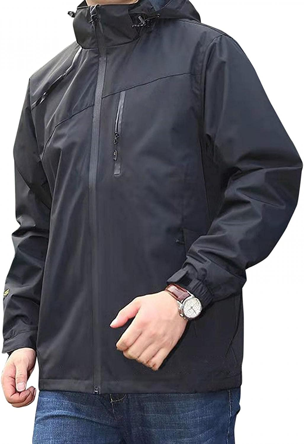 Huangse Waterproof Rain Jacket with Hood for Men Pockets Breathable Windbreaker for Outdoor Hiking Climbing