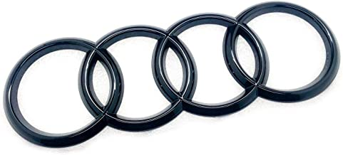 Gloss Black Front Grill Bonnet Badge Emblem Rings For A1 A6 Q3 Q5 Q7 Size 285mm x 99mm