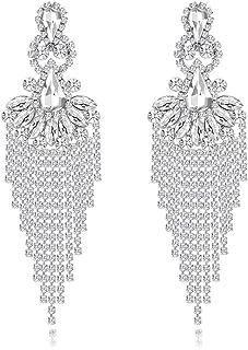 mecresh Silver/Gold Crystal Waterfall Fringe Tassel Earrings Luxury Bracelet Jewelry Set for Women Bride Fashion