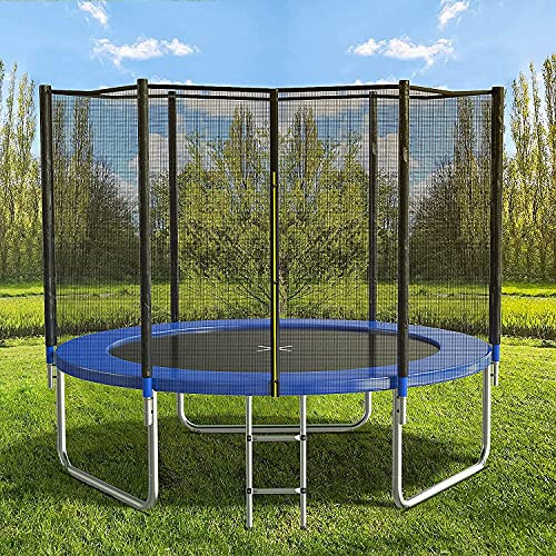 AOTOB 8 FT Trampoline Safety Enclosure Net Combo Bounce Jump for Kids Outdoor with Spring Pad Waterproof Jump Mat & Ladder