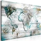 murando Quadro Mappamondo 120x80 cm 1 Pezzo Stampa su Tela in TNT XXL Immagini Moderni Murale Fotografia Grafica Decorazione da Parete Legno Mappa Continente Silber Blu Map Textur k-C-0125-b-c