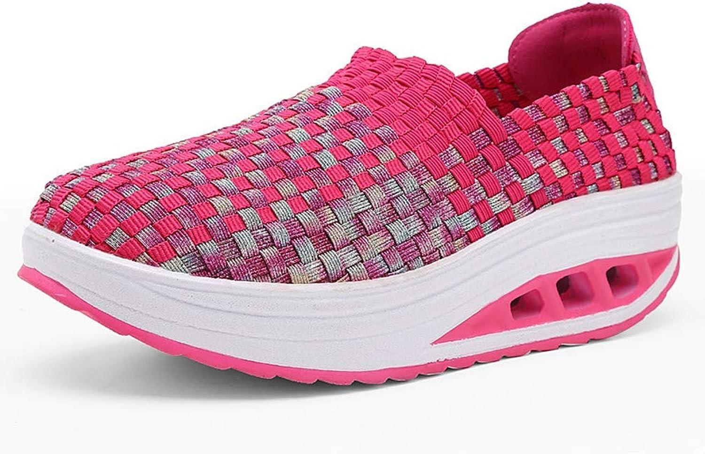 Wallhewb Women Summer Breathable Wedges Increased Thick Platform shoes Female Casual Sneakers Highten Increasing No Griding Feet Internal Increasing Joker Elegant Pink 8.5 M US Casual shoes