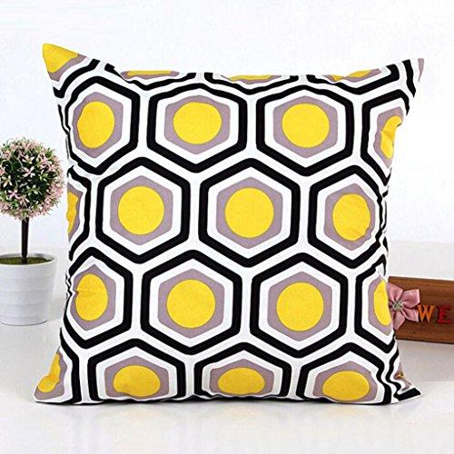 kingko® 45cm * 45cm Forme géométrique carrée Home Decor Taie d'oreiller Canapé-lit Housse de coussin (Jaune)