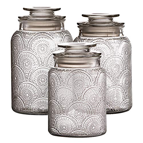 Style Setter Canister Set 3-Piece Jars in 1, 1.3 & 1.6 Liters Retro Design w/Airtight Glass Lids for Cookies, Candy, Coffee, Flour, Sugar, Rice, & Pasta, 13.25 x 4.6 x 8, Clear