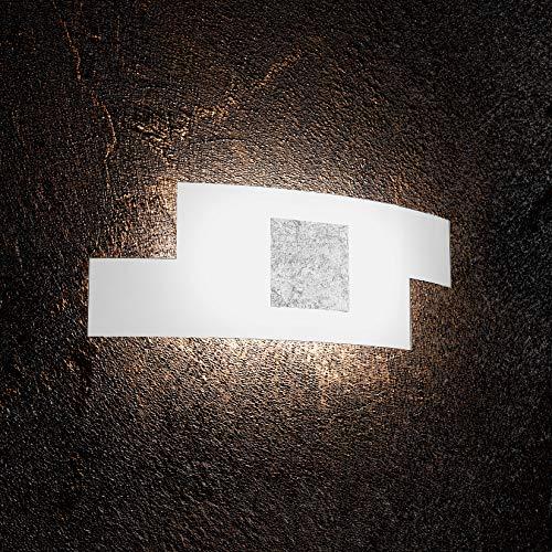 Applique moderne led 2 x E27 Verre Blanc et plaque en métal feuille Argenté rectangulaire