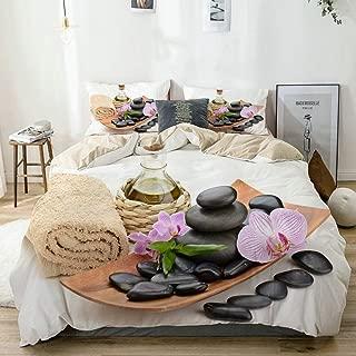 JOSENI Duvet Cover Set Zen Basalt Stones and sea Salt on The White Beige Decorative 3 Piece Bedding Set with 2 Pillow Shams Queen Size