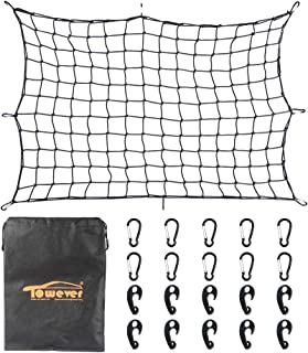 Towever 3'x4' Bungee Cargo Net Long Stretches to 6'x8' 8cm x 8cm Mesh Net Small Large Cargo Loads Tighter for Rooftop Cargo Carrier