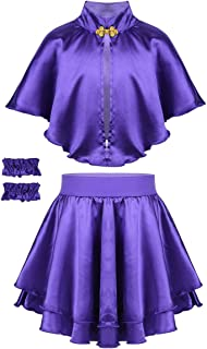 Kids Girls Trapeze Costume Princess Purple Cape with Skirt Wristband Circus Birthday Party Fancy Outfit Set
