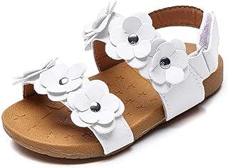 JUERYEE Toddler Girl's Flower Open Toe Strap Sandals Summer Flat Princess Shoes(Toddler/Little Kid)