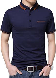 Mens Casual Slim Fit Short Sleeve Collared Polo T Shirt